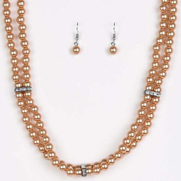 Brown Choker Necklace & Earrings